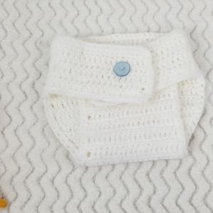 White crotched diaper cover 0-6 months